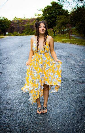 Vestido Pontas Amarelo